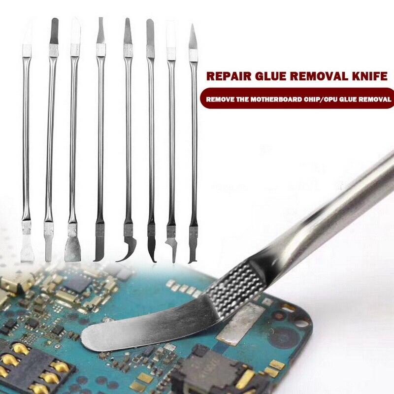 8in 1 IC Chip Reparação Ferramentas de Lâmina Fina Conjunto CPU Metal Burin Removedor Para Remover Para O Telefone Móvel Do Computador CPU NAND IC Chip Reparação