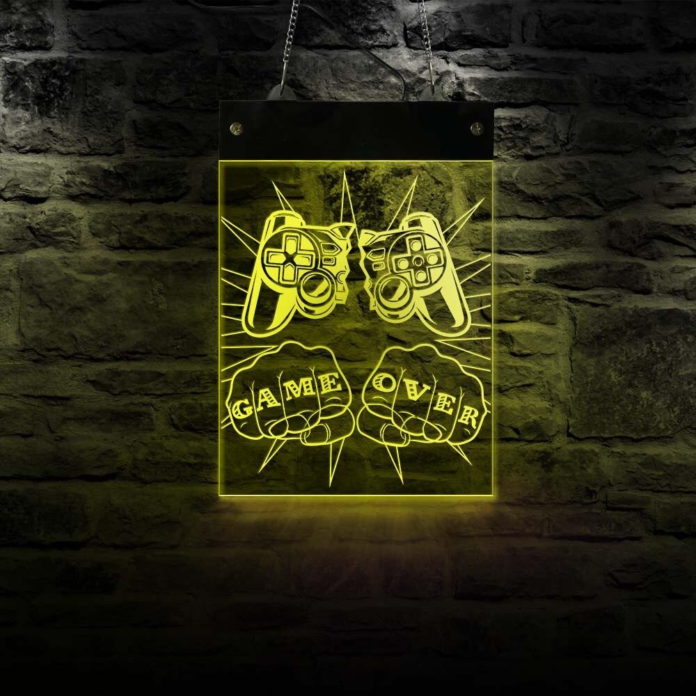 لوحة التحكم المكسورة مع إضاءة LED ، ضوء نيون ، غرفة الألعاب ، ألعاب الفيديو ، الحفلات ، الديكور ، مصباح الجدار ، لوحة اللعب ، هدية