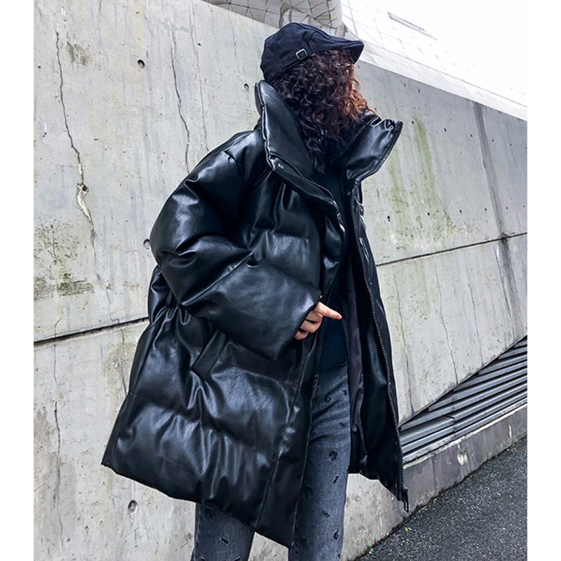 High quality PU leather coat female long section thick leather jacket female winter loose  waist  leather cotton clothing female enlarge