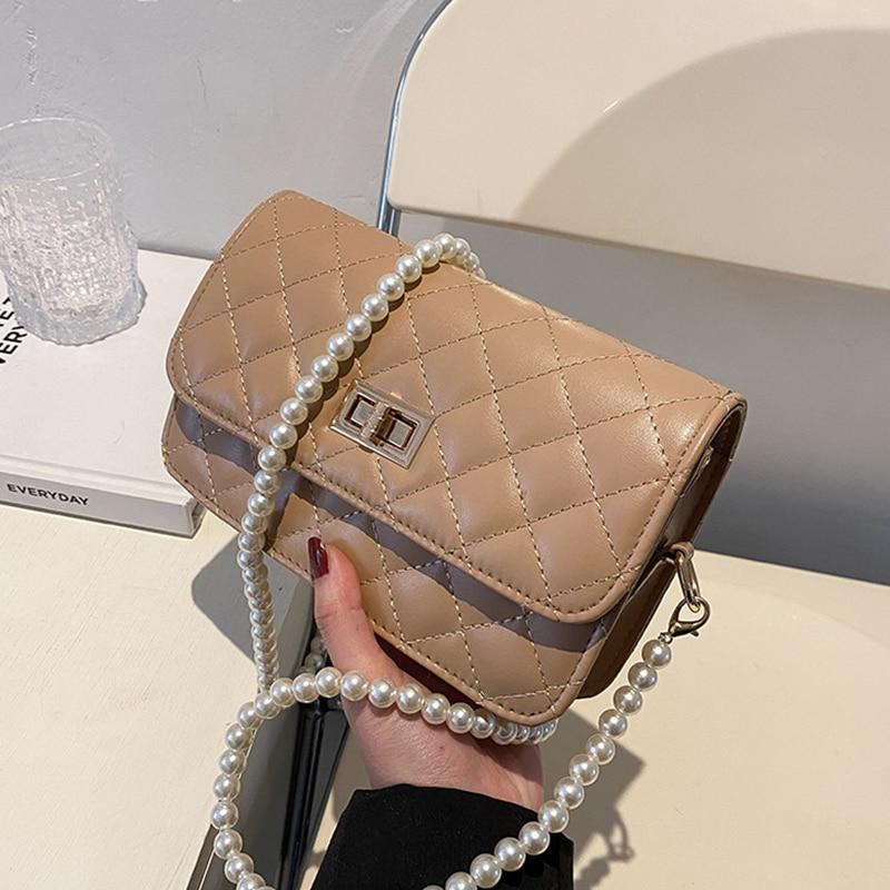Fashion Handbag Korean Style New PU Leather Women Small Square Bag Solid Rhomboid Lattice Pearl Chain Female Cross Shoulder Bag