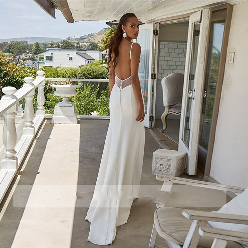 Simple Mermaid Wedding Dress White For Women Lady Gown Robe Bridal Gowns Spaghetti Straps V Neck Backless Sweep Train Bridal
