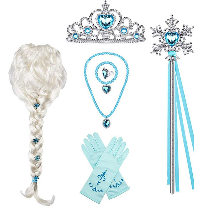 Elsa Princess Accessories Gloves Wand Crown Jewelry Set Elsa Wig Necklace Braid for Princess Dress Clothing Cosplay Dress UP