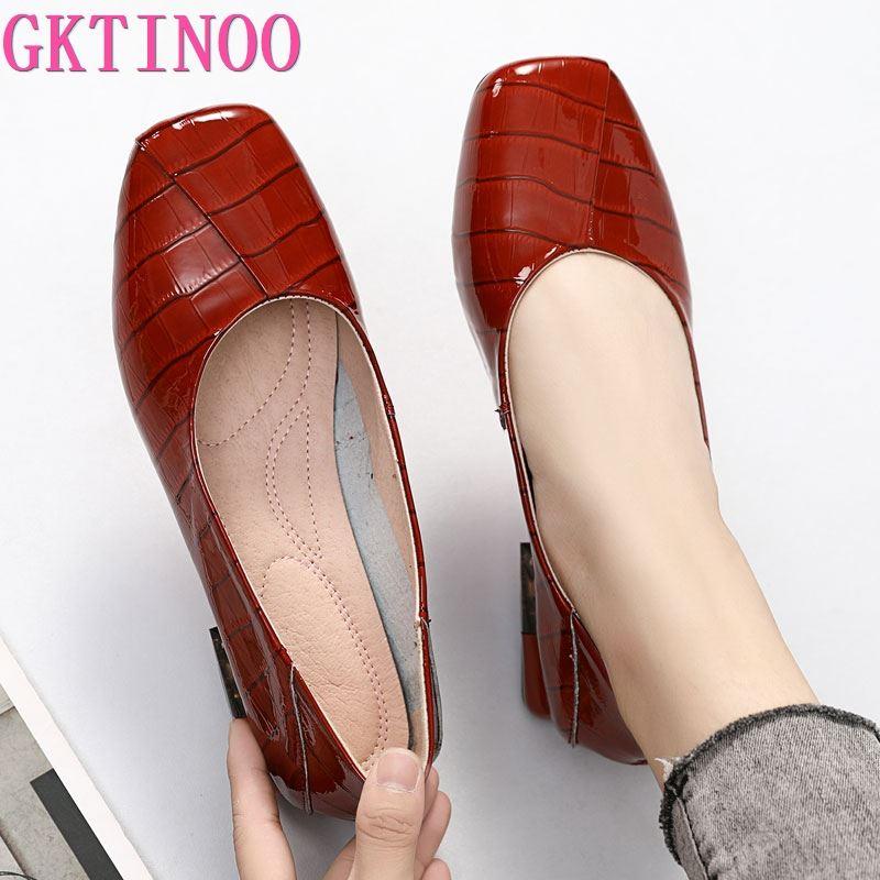 GKTINOO-أحذية نسائية بكعب منخفض ، أحذية نسائية ذات علامة تجارية ، جلد طبيعي ، مقدمة مربعة ، ملونة ، أحذية حفلات مصنوعة يدويًا