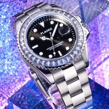 PLADEN Men's Watches Luxury Original Silver Diamond 3Bra Waterproof European Montre Quartz Movement