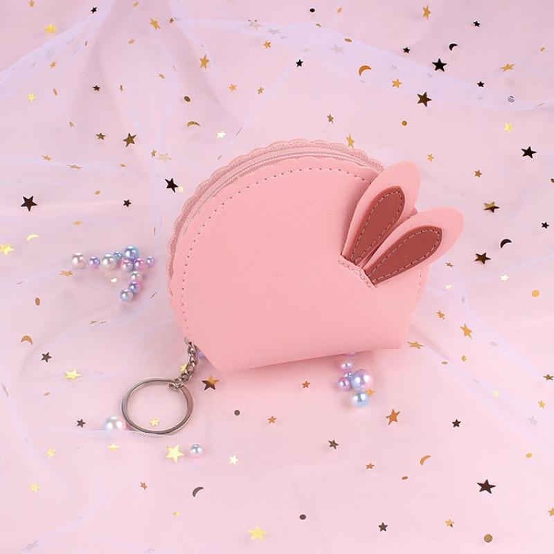 Cartoon Animal Girl Mini Coin Purse Rabbit Cute Simple Fashion Trend Multifunctional Wallet Bank Card ID Card Business Card Bag