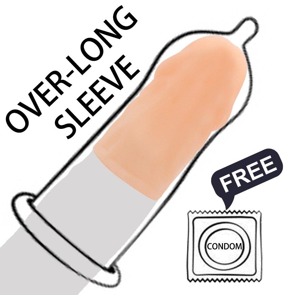 Over-Long Penis Sleeve Cap Reusable Condoms for Men Head Attachment Dick Enlargement Cock Extender Erotic Sex Toy Intimate Goods