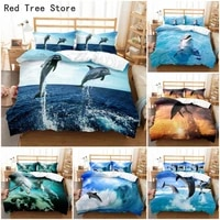 dolphin in blue sea queen king size bedding set 3d cute animal single quilt duvet cover set kids boy adults bed linen bedclothes
