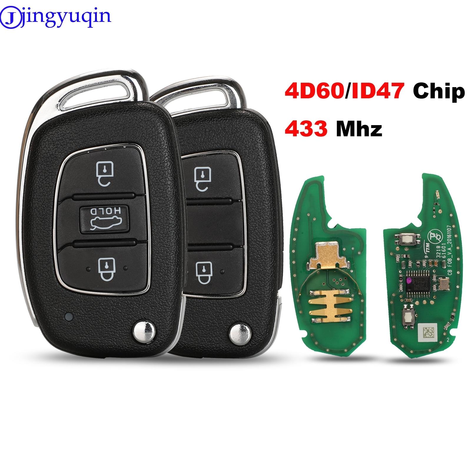 Jingyuqin 434MHZ Com Chip de ID47 2B Controle Remoto da Chave Do Carro Para Hyundai Verna Elantra Reina ix25 Novo 2017