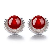 ModaOne 925 Sterling Silver Earrings Red Marine Shells Natural Nauma Earrings For Women Girl boucle