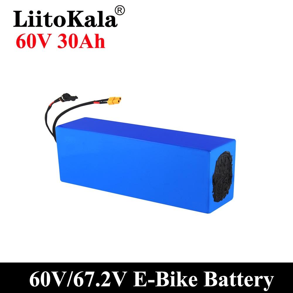 LiitoKala E-الدراجة بطارية 60 فولت 30ah 20 أمبير 25ah15ah 12ah بطارية ليثيوم أيون حزمة دراجة تحويل عدة bafang BMS حماية عالية الطاقة