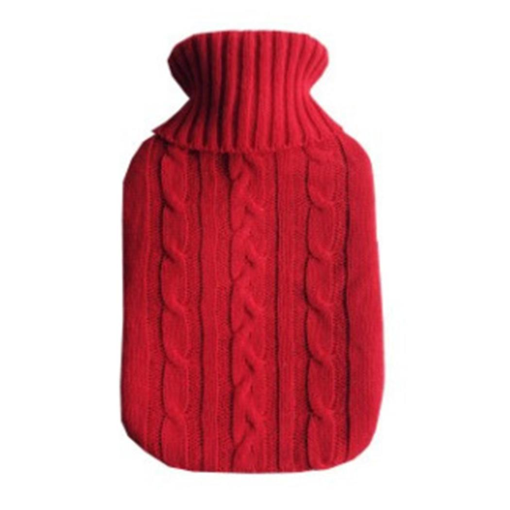 Bolsa de agua caliente de punto de 2000ml cubierta de punto de patrón geométrico 7 bolsas de agua caliente de Color como regalo para tu familia o amigos