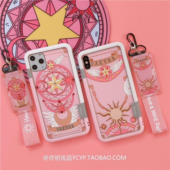 For iphone 11 pro Max Cardcaptor Sakura Tempered Glass flim+soft bumper for iPhoneX XS max XR 7 6S 8plus Sailor Moon case+2strap