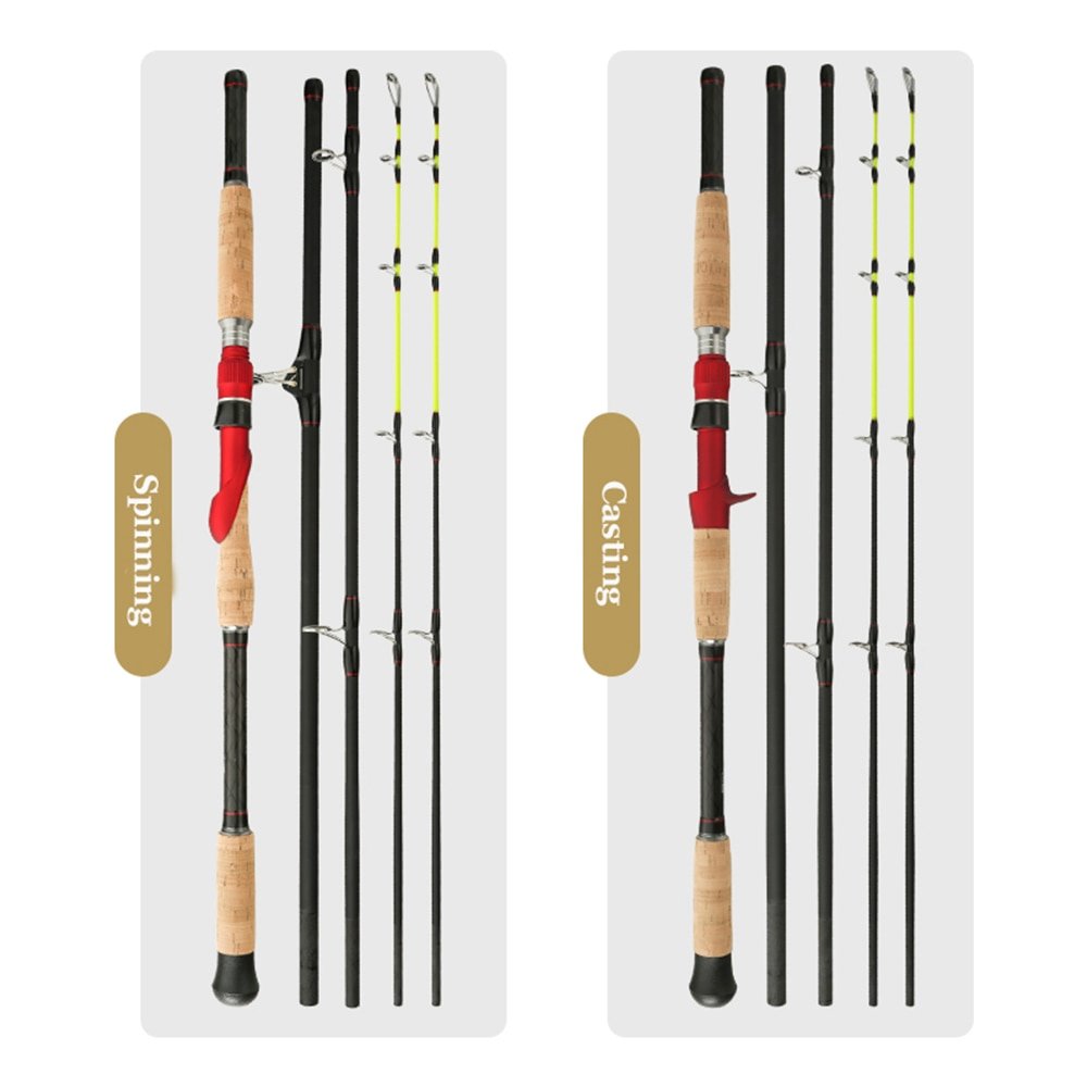 Jigging Fishing Rod Carbon Lure Double Tip M XH Power 4 Sections Baitcasting Spinning Strong Pole for Big Fish enlarge