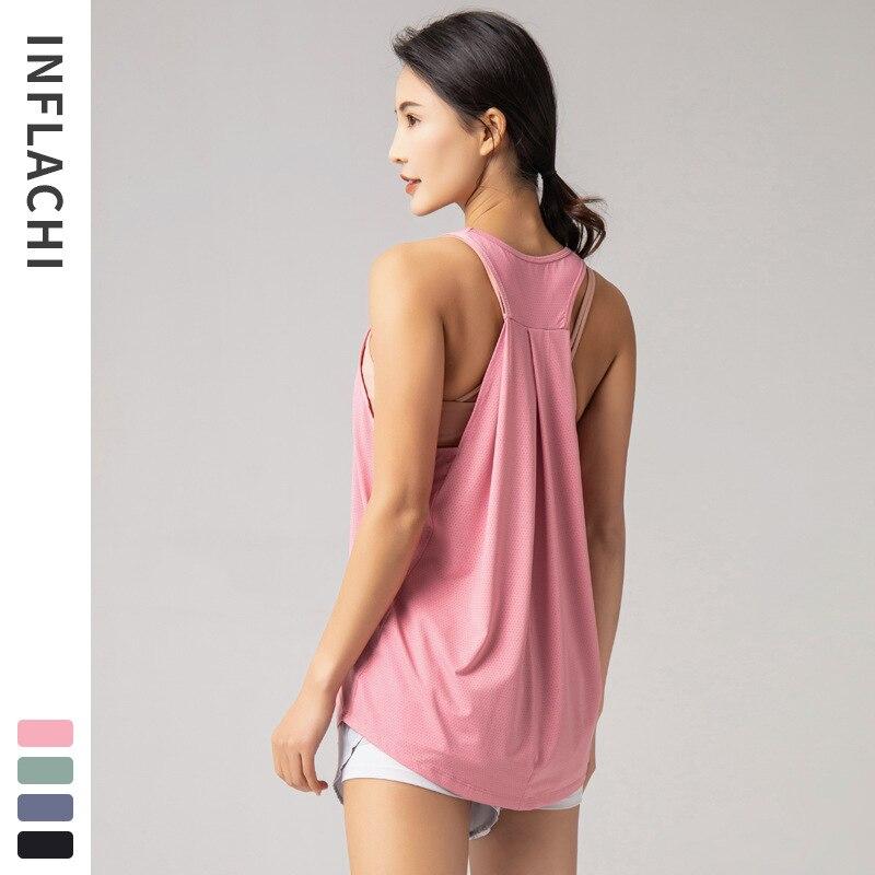 Solto de secagem rápida yoga roupas esportivas femininas correndo camiseta topo sem mangas bela volta sexy colete roupas de fitness