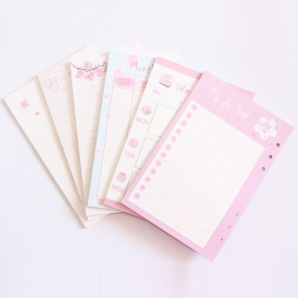Domikee милый перезаправляемый внутренний бумажный стержень с 6 отверстиями для спиральных ковриков, записных книг: лист, ежедневный планировщик, линейка, сетка A5A6