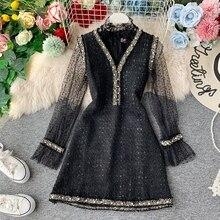 Robe femme costume dentelle fond chemise et dames Tweed perlé col en v gilet robe au-dessus du genou a-ligne robe deux pièces ensemble ML407