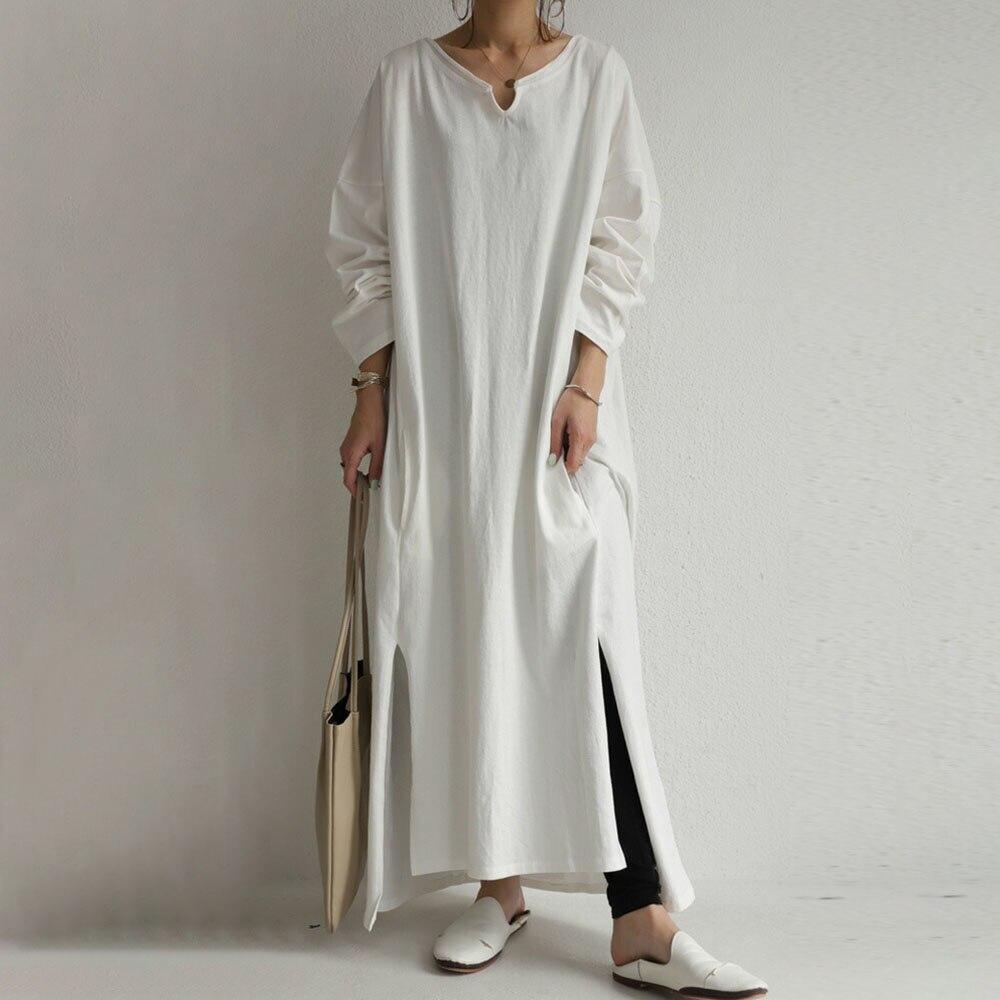 Maxi Length Long Sleeve Ladies Fashion Irregular Pullover Plain Dress Women Korean Style Simple Casual Oversize Long Dresses