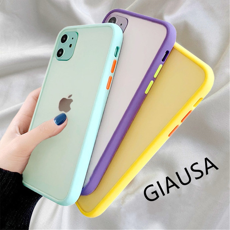 Mint Simple Matte Bumper Phone Case for iphone 11 Pro XR X XS Max 12 6S 6 7 8 Plus Shockproof Soft TPU Silicone Clear Case Cover