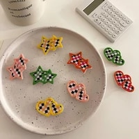 fashion checkerboard star love hairpin sweet candy color hair accessories simple elegant side bangs clip for girls women