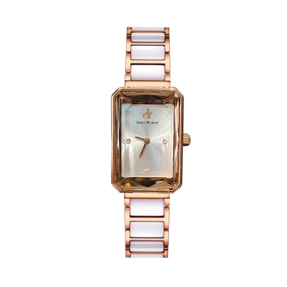 Top Brand Women Watches Fashion Rose Gold Square Ladies Quartz Watch Bracelet Set Dial Simple White Luxury Women Watches+Box