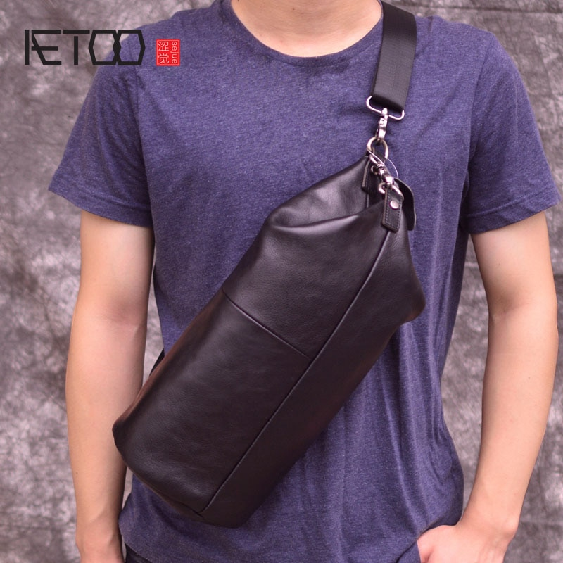 aetoo the first layer of leather 2017 new korean version of the small handbag female hard section leather black wild fashion kel AETOO Chest bag male leather Korean version of the shoulder diagonal package personality vintage cylinder bag men's first layer