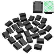 30Pcs Car Wire Tie Clip Fixer Organizer Black and white color Clamp Cord Cable Line Holder Self Adhesive