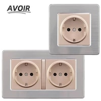 avoir euderu standard plug socket power stainless steel panel grounding socket 146mm86mm double plug electrical outlet