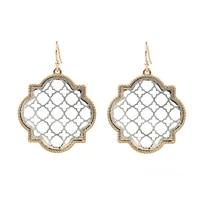 2021 new vintage clover hollow out flower filigree dangle earrings for women