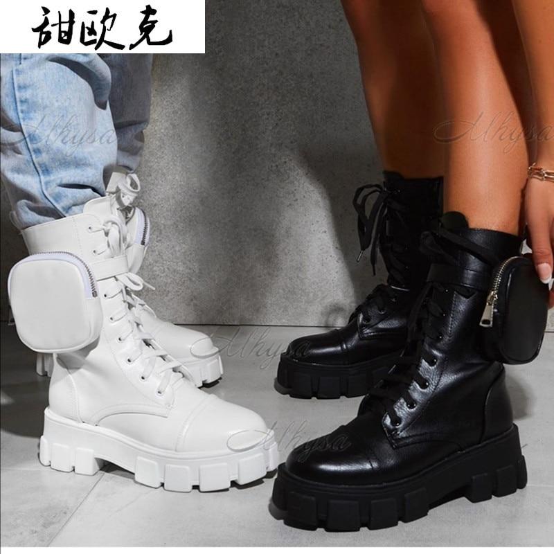 المرأة جيب التمهيد الدانتيل يصل السيدات حذاء من الجلد الإناث مشبك حزام أسود مكتنزة وحيد الحقيبة حذاء من الجلد امرأة منصة الأحذية