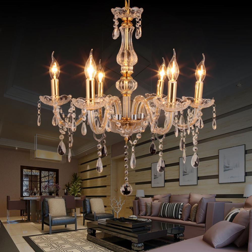 Lámpara de techo moderna con 6 luces de cristal colgante Yonntech