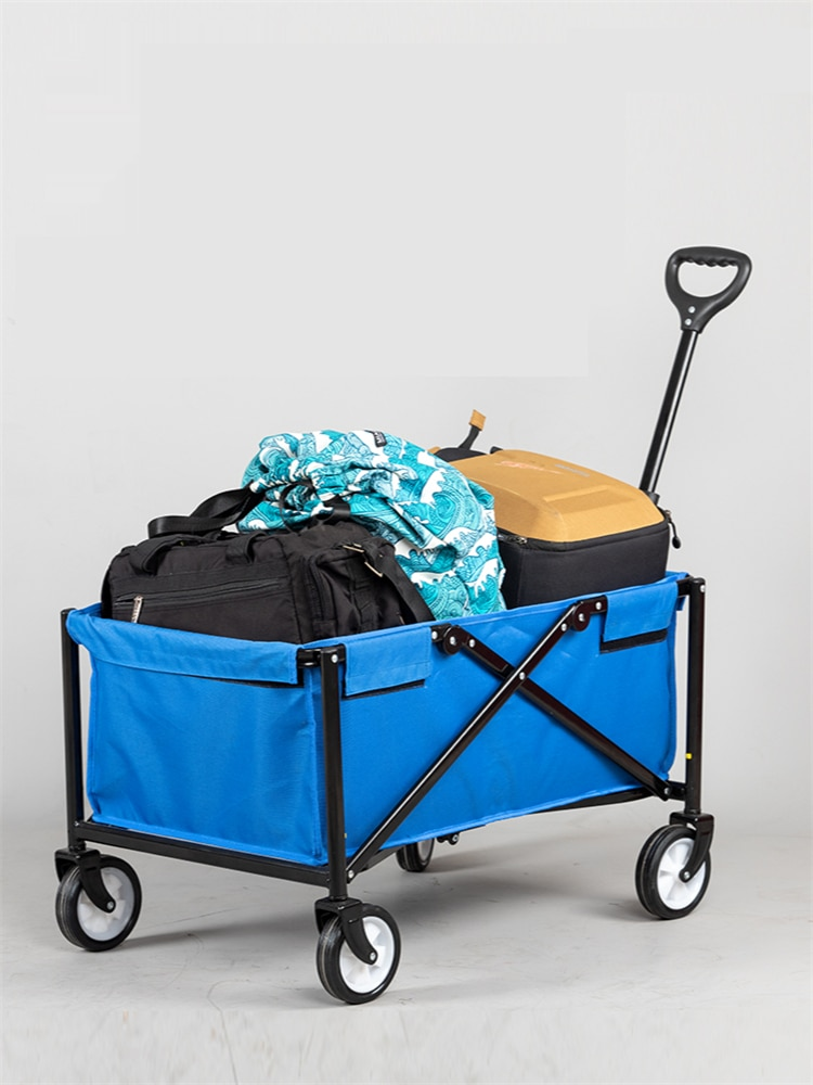 Utility Folding Wagon Collapsible Garden Cart Heavy Duty Beach Wagon Trolley with Adjustable Push Handle and Brake