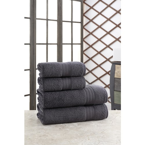 Özenev Hirry 70 X135 cm 50 X85 cm 4'lü Bath Towel Set Anthracite