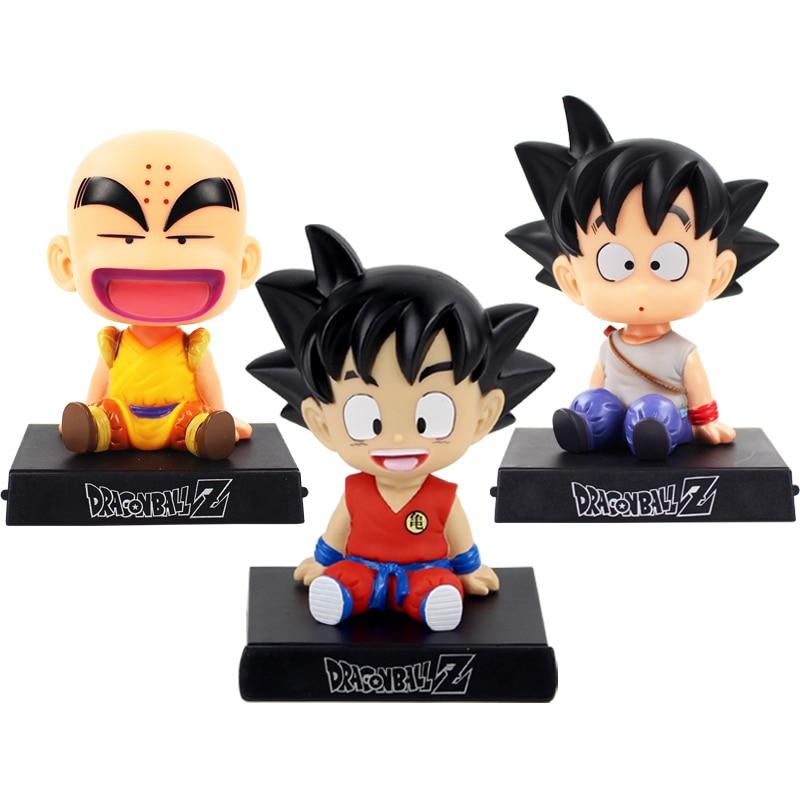 Dragon Ball Z Phone Holder Son Goku Kuririn Krillin Childhood Bobble Head Figures Anime DBZ Model Toy