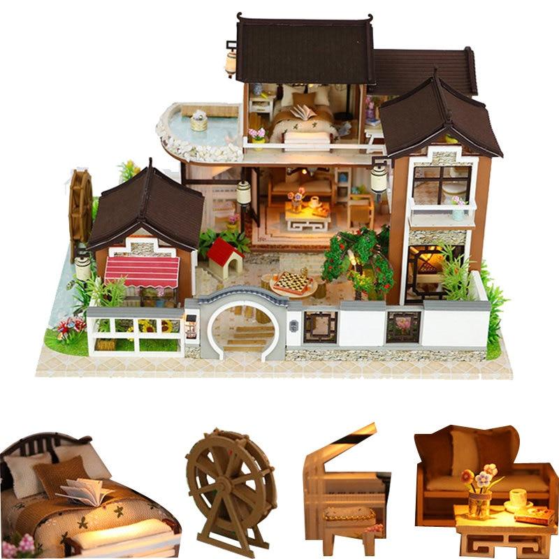 Casa de muñecas en miniatura, kit de madera, muebles grandes diy, jardín para casa de muñecas, casas de muñecas para niños, juguete bebek evi oyuncaklari, regalos de cumpleaños