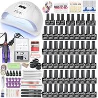 nail set uv led nail lamp and electric nail drill machine set with 5040302010 pcs colors nail gel polish kit nail art tool