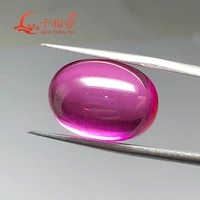 oval shape flat back cabochon artificial ruby 3 pink color loose gem stone