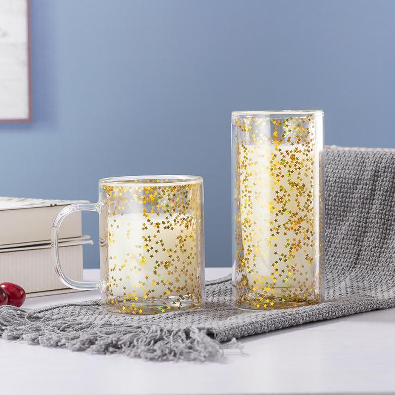 Taza de café de doble vidrio, Vaso de zumo de leche, teaTaza de café, doble vidrio, cristal de doble pared, tasse, café, doble verre