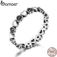 BAMOER véritable 925 en argent Sterling empilable anneau coeur noir CZ bagues pour les femmes de mariage anniversaire bijoux Anel SCR140