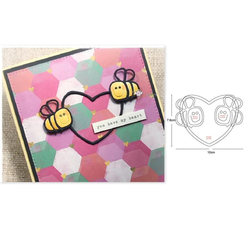 DIY plantillas de corte de Metal con forma de corazón de abeja y recortes para álbum de recortes, para hacer papel, flores, insectos, abejas, estampas para tarjetas, 2020 nuevas