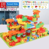 small particle magical marble race run city building blocks sets friends funnel slide diy bricks educational toys for kids