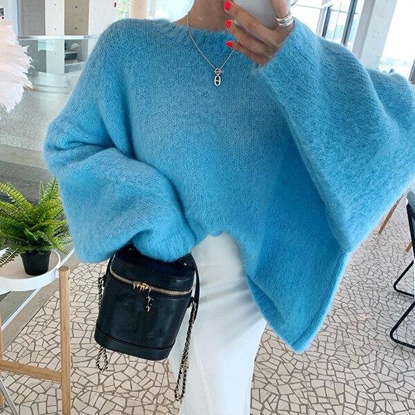 HAMALIEL moda dos prendas antes y después de las mujeres suelta Mohair suéter Otoño Invierno manga de murciélago visón Cachemira suéteres suaves