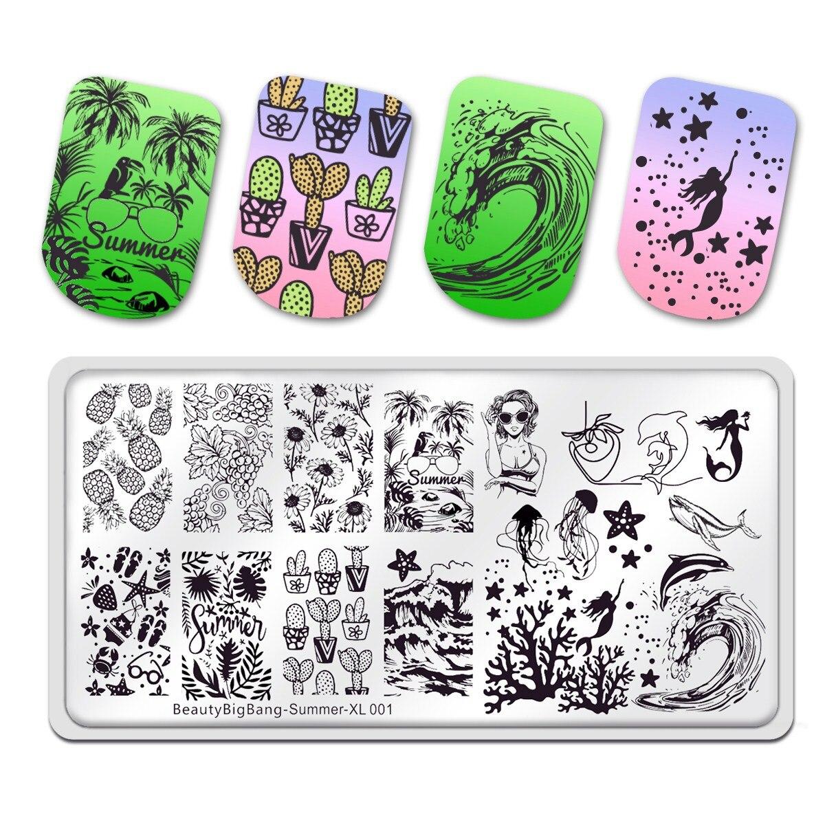 Beauty Big Bang placas de estampado de uñas, nuevo verano ola ballena delfín fruta tema Acero inoxidable molde Nail Art plantilla