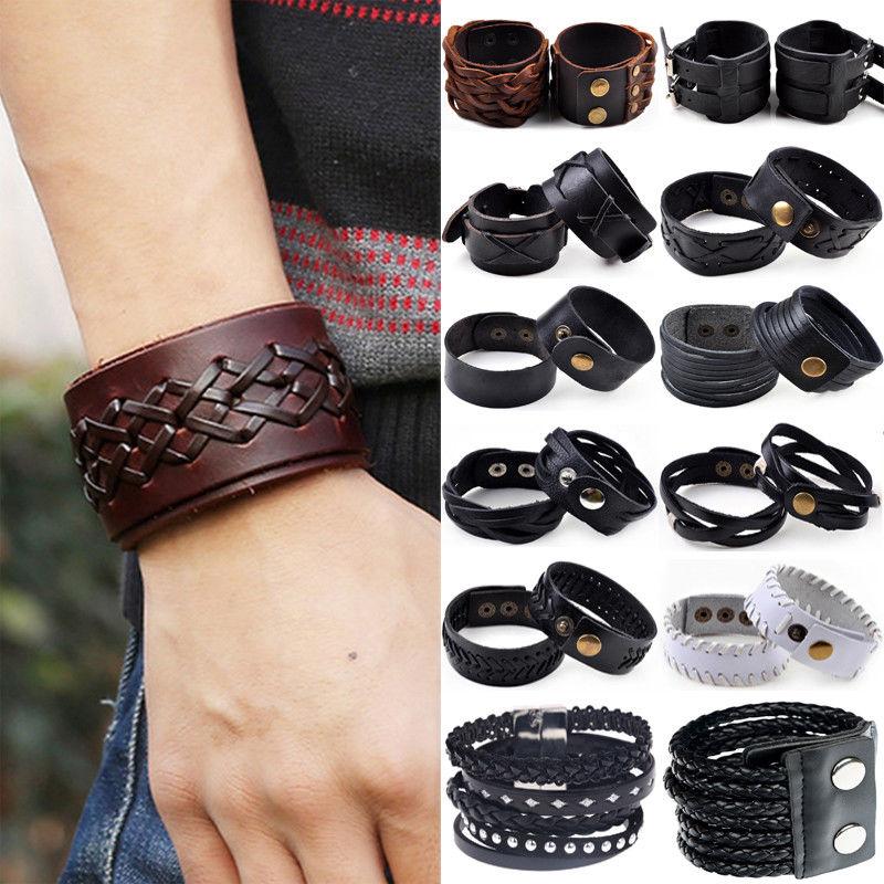 Популярные европейские браслеты на кнопках, Прямая поставка с фабрики, Винтажные Ювелирные изделия из коровьей кожи, модные мужские браслеты-манжеты в стиле панк, ювелирные изделия