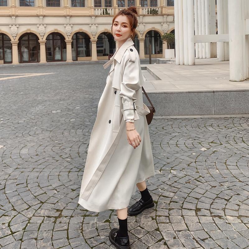 Тренчкот женский длинный двубортный с поясом, модная бежевая куртка-ветровка, верхняя одежда, весна-осень