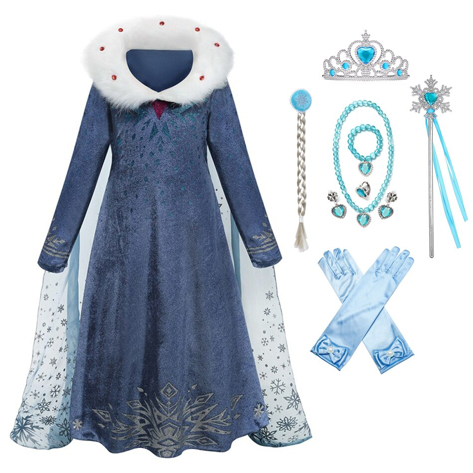 Frozen Winter Elsa Cosplay Dress Kid Girl Snow Quee Princess Vestido Clothing Elza Halloween Christmas Costume 2-10T