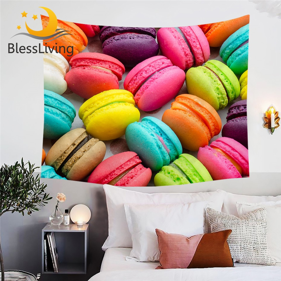 Tapiz decorativo de pared con estampado 3D de tapiz de macaron francés de blesliving, envío directo