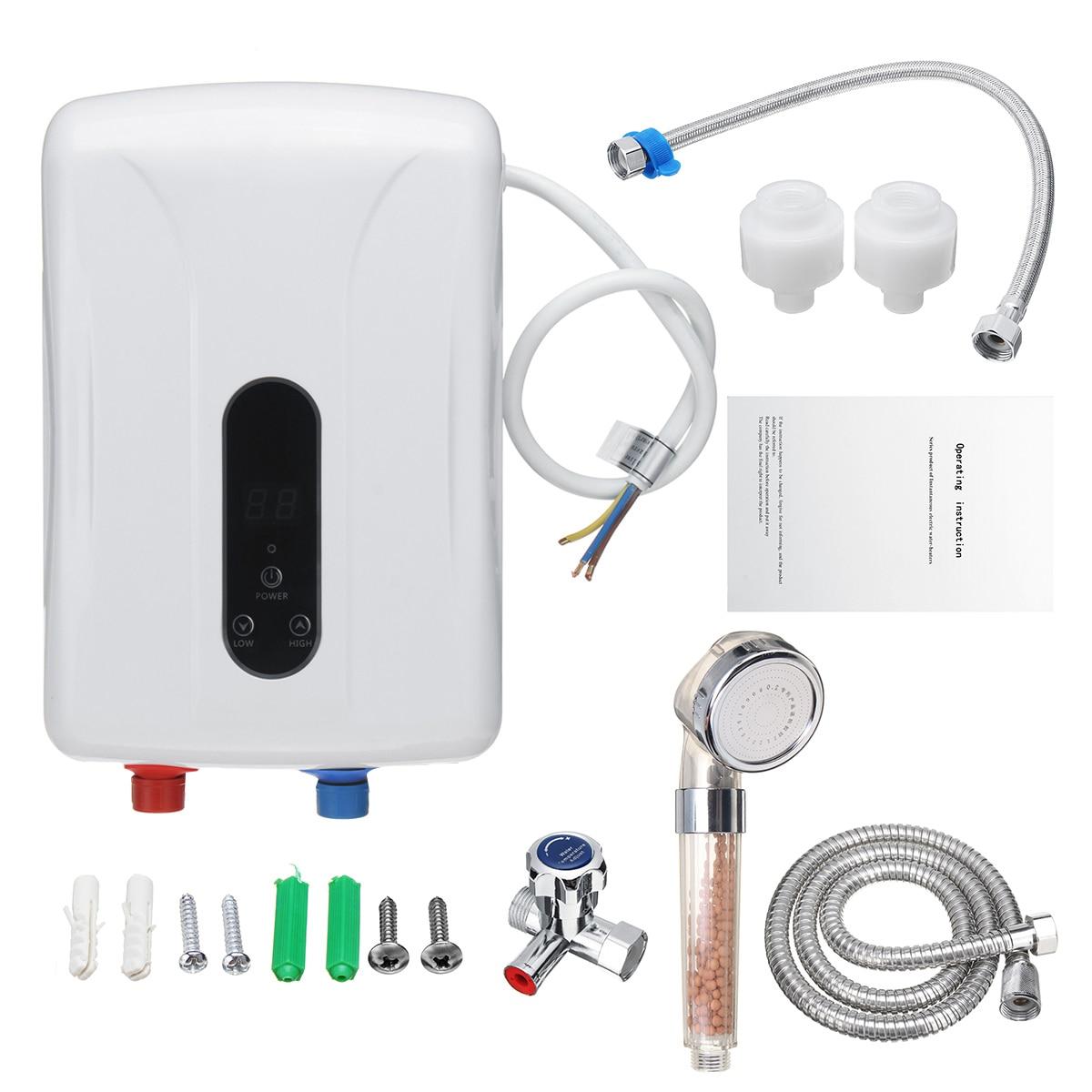 5500W chauffe-eau électrique instantané sans réservoir affichage de LED chauffe-eau température constante Protection contre les fuites douche maison