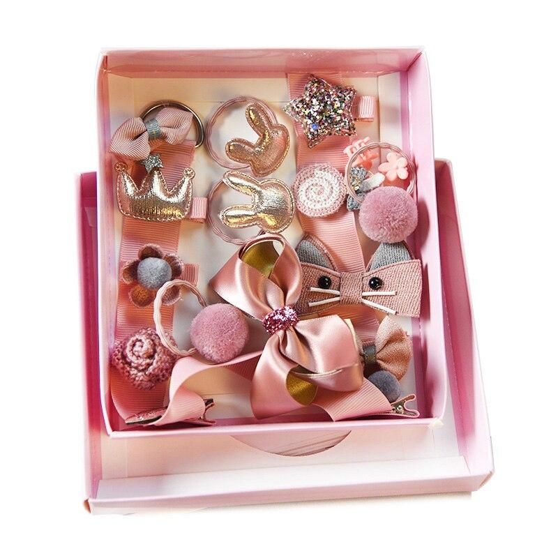 18 unids/set caja de regalo accesorios de moda para el cabello chico diadema regalo Cintas de Pelo para niña clip para el pelo bandas para el pelo pasador