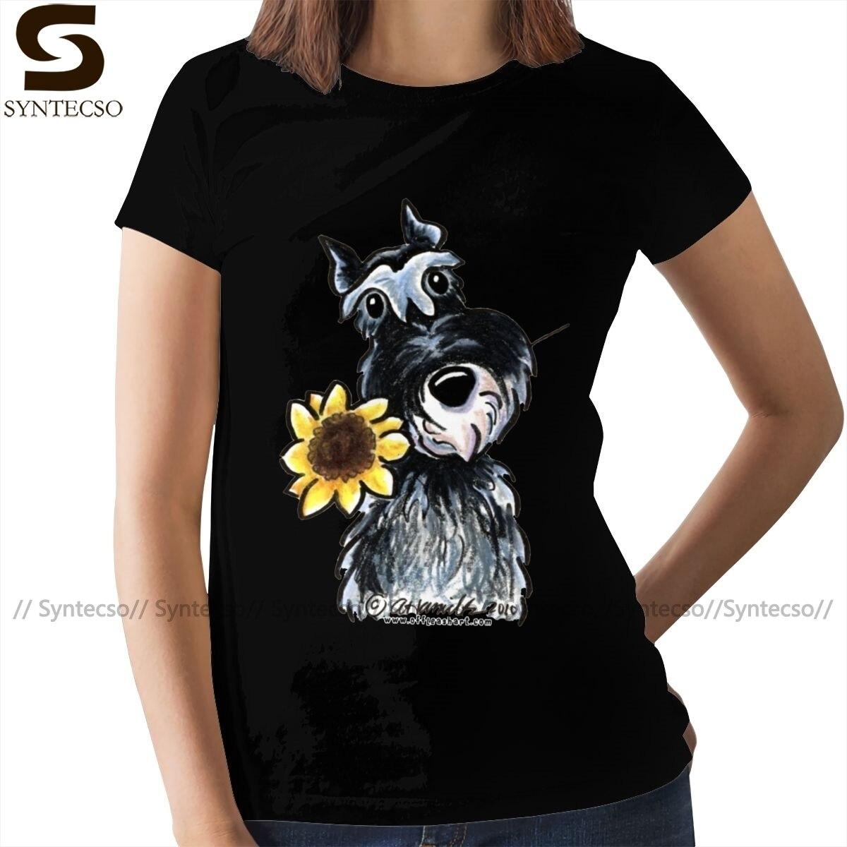Camisa em miniatura schnauzer schnauzer t camisa na moda mais tamanho camisa feminina verão das senhoras t camisa