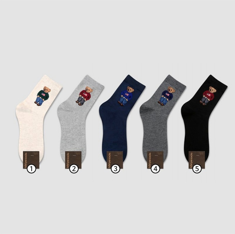 2021 Cotton Men's Socks Bear Business Casual Sports Socks 6 Pairs/lot Sock For Gift Four Seasons